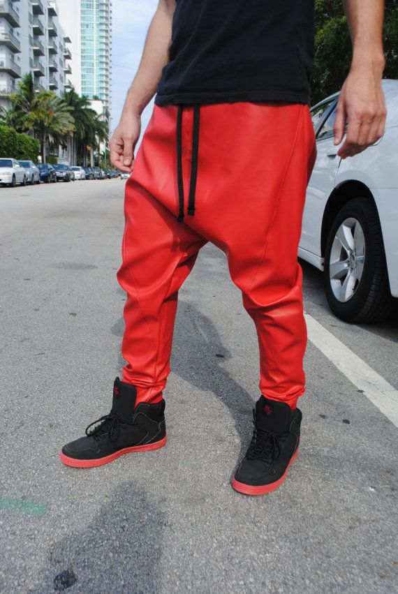 Red Faux leather drop crotch pants for men and by GAGONTHISTHREADS