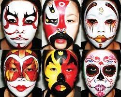 Kabuki opera masks