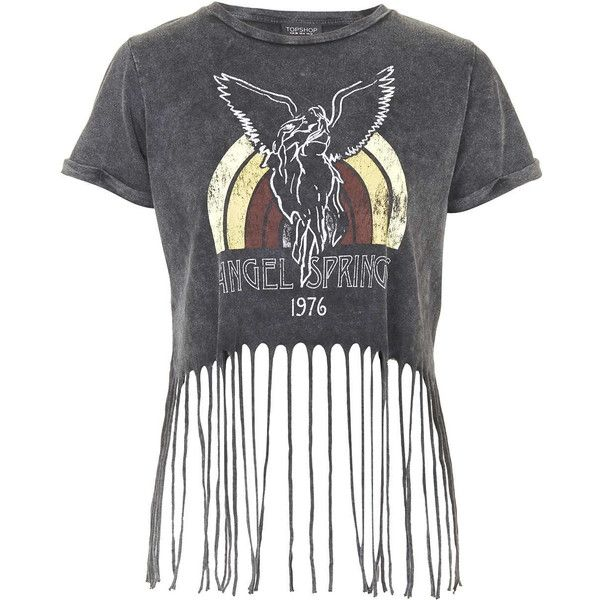 TOPSHOP Angel Springs Fringe Tee ($40) ❤ liked on Polyvore featuring tops, t-shirts, shirts, crop top, charcoal, summer t shirts, summer crop tops, fringe t shirt, pattern shirts and pattern t shirts