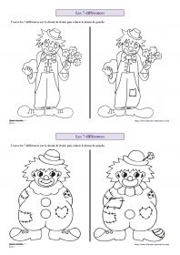 6 fiches avec des personnages de carnaval (clown, Arlequin, indien, cowboy) pour s'entraîner à chercher les 7 différences entre deux images.