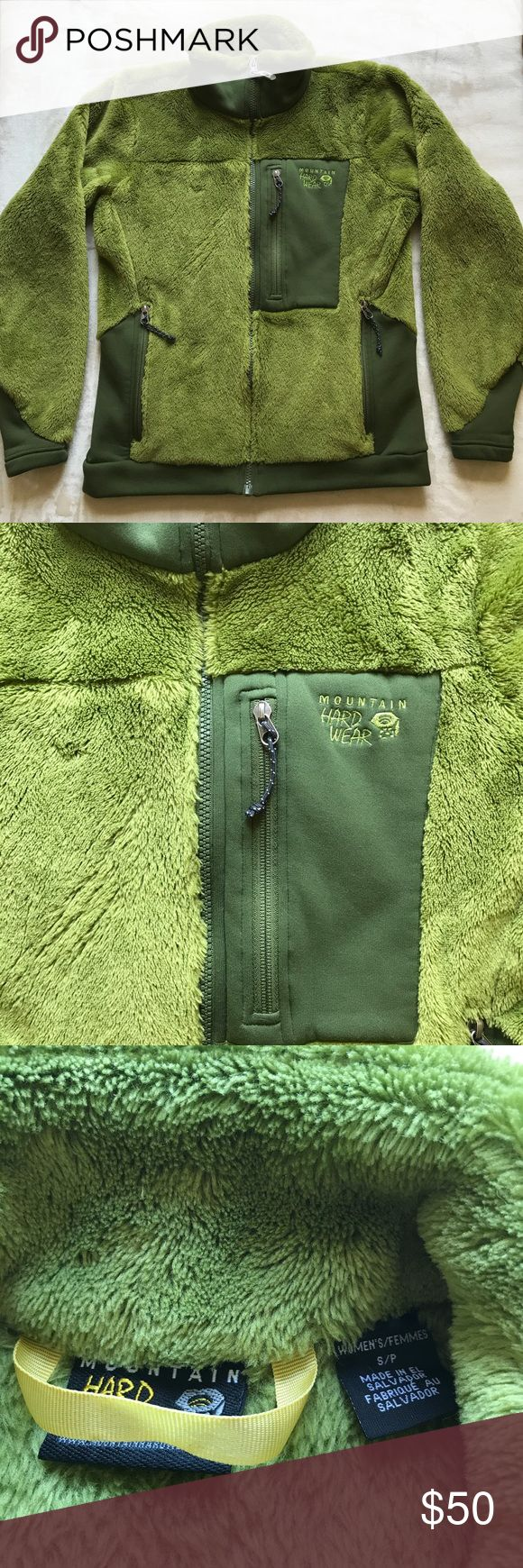 """💥 Mountain Hardwear Women's Monkey Jacket 💥 Excellent used condition. Mountain Hardwear monkey jacket in Green. Size small.  MicroClimate Zoning construction for built-in warmth, breathability and stretch. Extremely warm, extremely soft. Stretch hem and cuffs seal in warmth. Zip handwarmer pockets. Chest pocket for maps, snacks, and other goodies Apparel Fit Standard Weight: 15.2 oz. / 430 g. Center Back Length: 26 """" / 66 cm BodyPolartec ThermalPro Monkey Phur. Bundle to save!! Mountain…"""
