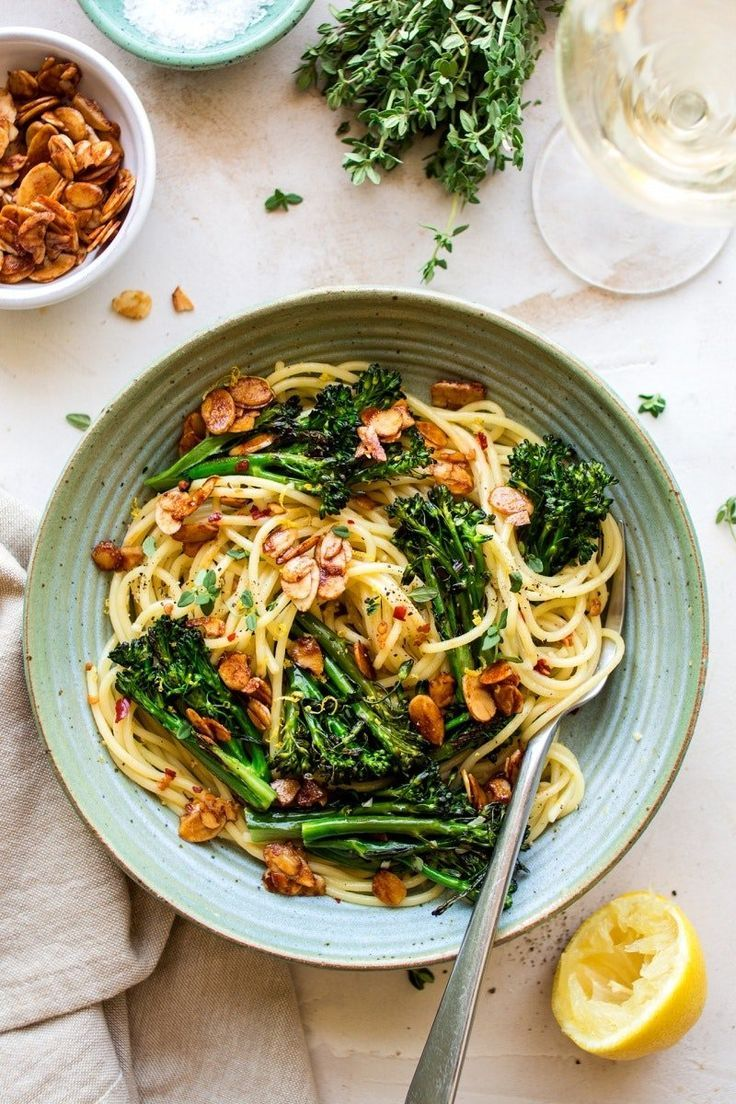 This Lemony Veggie Pasta Is Sprinkled With Almond Bacon