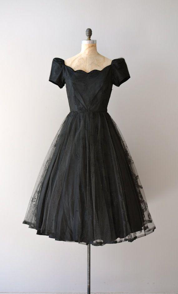vintage 1950s Solfeggio flocked tulle #dress #romantic #feminine #fashion #vintage #designer #classic #dramatically #partydress #frock #highendvintage
