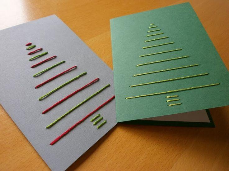 Edeltraud mit Punkten: Weihnachtskarten sticken