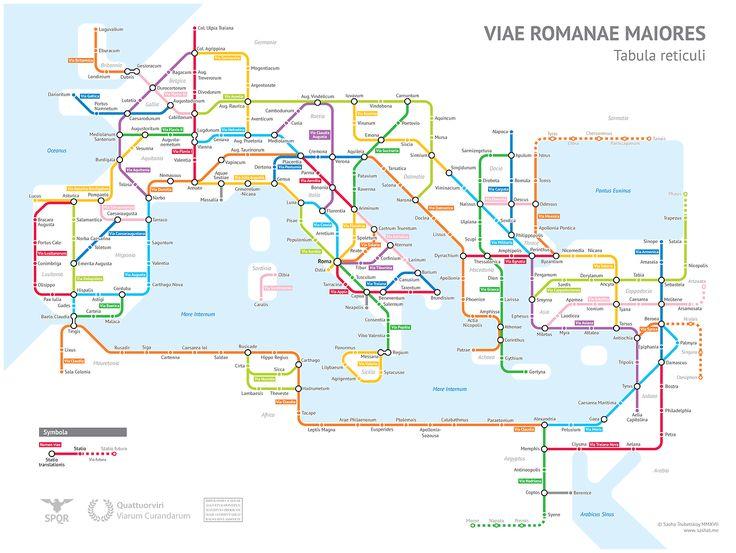 Le principali strade dell'Impero Romano visualizzate come in una mappa della metropolitana.