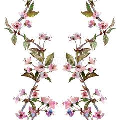 Seamless watercolor pattern cherry blossom. Textile print. Isolated on white background.
