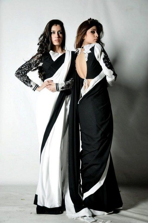 Black and White Saree. Visit www.faaya.in and get this made in your favorite colors and style.