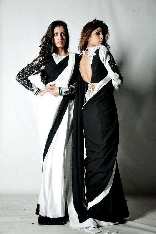 Black and White Saree