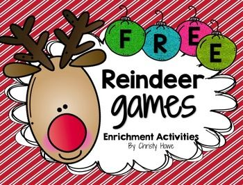 "Holiday FREEBIE! This free download is full of fun, meaningful enrichment activities for students in grades 4 and 5!     ""Reindeer Games"" includes a series of free printables designed to promote critical and creative thinking.  The free activities include: - Logic Puzzles - Patterns - Math - Brainstorming - Art - Creative Thinking - An answer Key - Teacher Tips   If you and your students enjoy these activities, you may also like the following differentiated enrichment activities:  Fraction…"