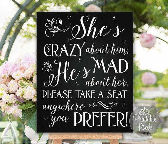No Seating Plan Printable Wedding Sign (#4C) Chalkboard / She's Crazy About Him / DIY Instant Download / Ready to Print