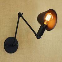 Лофт ретро Матовый Черный железа оттенок регулируемая swing arm чтение стены лампы Фары e27/e26 бра для мастерской спальня бар кафе