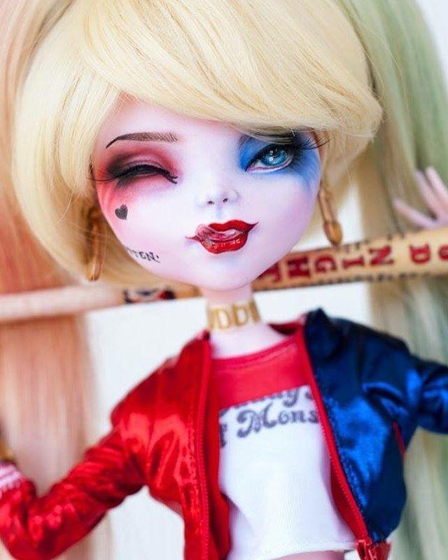 SOLD - here is a close up of this cheeky girl ... #artdoll #colourtothebone #customdoll #customrepaint #customooak #custommonsterhigh #create #doll #dollooak #etsy #etsyshop #etsyseller #reroot #monsterhighreroot #kindmonsters #mh #monsterhigh #monsterhighrepaint #monsterhighcustom #monsterhighooak #ooakdoll #ooakmonsterhigh #ooakcustom #ooakrepaint #repaint #tearsofcolour #tcdap #harleyquinn #harleenquinzel #suicidesquad