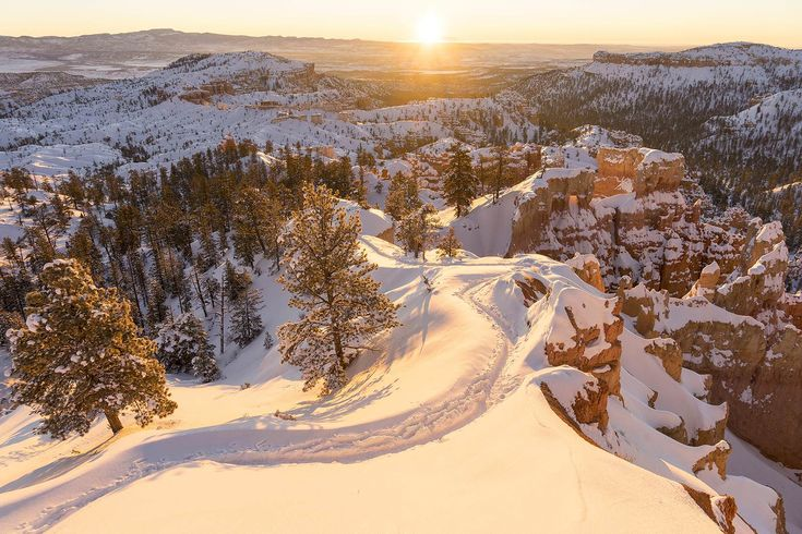 Good Morning Utah! A fresh blanket of snow coats the red rocks of Bryce Canyon NP Utah [OC] 1200x1067