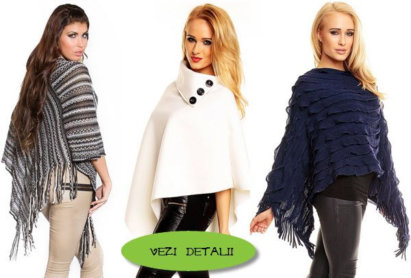 modele de poncho ieftine tricotate cu franjuri