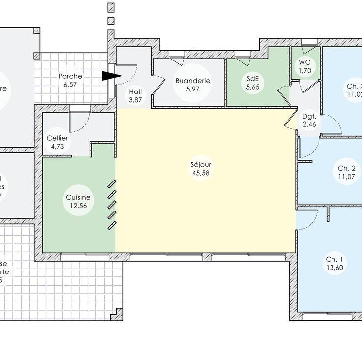 Une contemporaine conviviale in 2018 Plan maison Pinterest - plan de maison de 100m2 plein pied