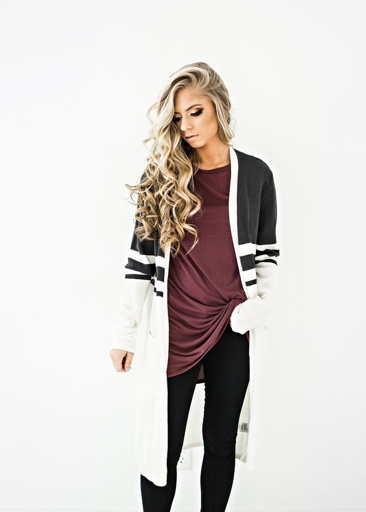 Charcoal Striped Cardi, ootd, style, womens fashion, fashion, sweater, cardigan, fall fashion, winter fashion, blonde hair, makeup, hair