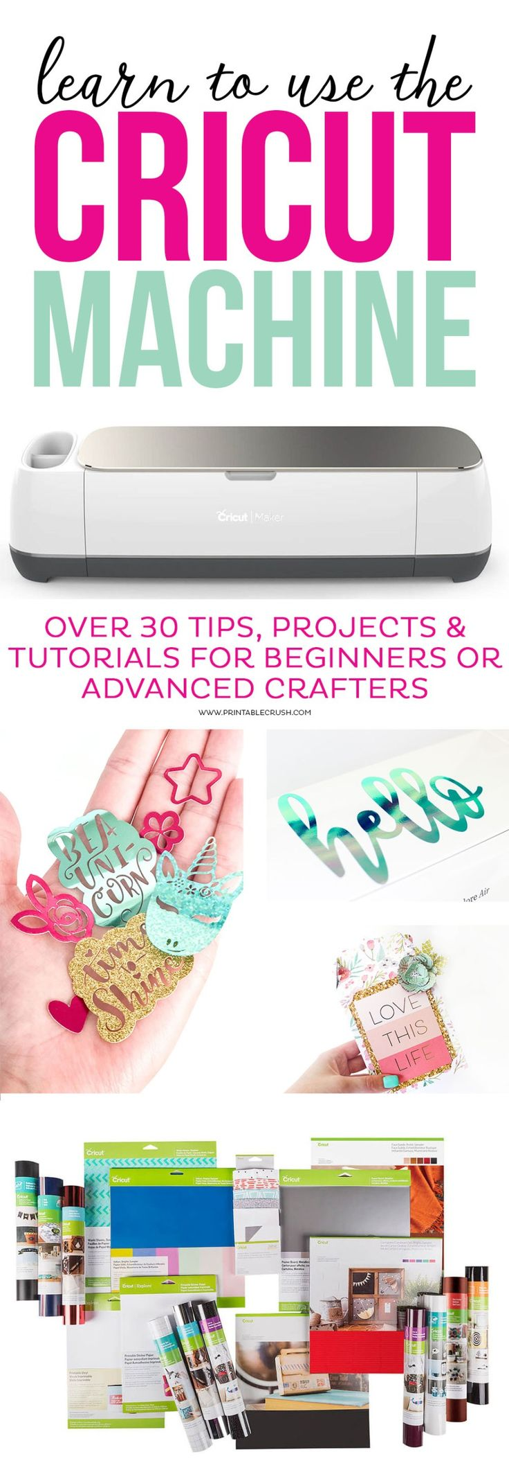 Learn to use the Cricut Machine with over 30 tips, projects, and tutorials for b…