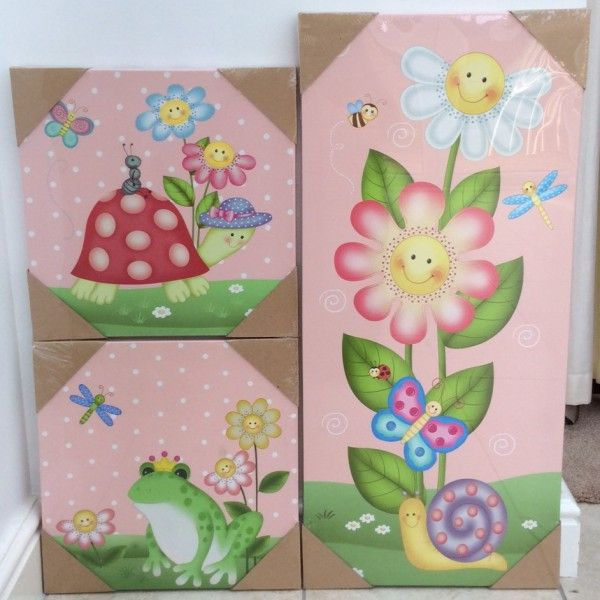 Magic Garden - set of 3 girls canvas wall art. Bedroom accessory ideas for a princess themed bedroom or woodland themed room. Tortoise, princess frog & magic flowers.