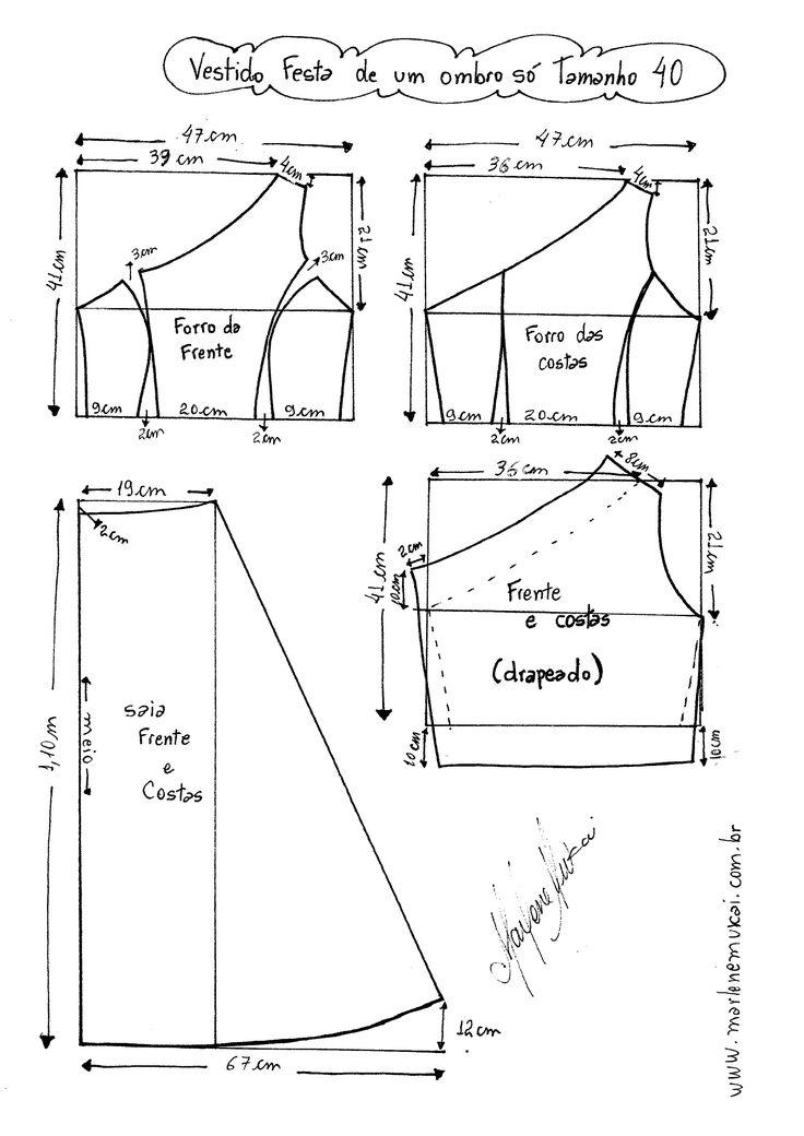 Esquema de Modelagem do Vestido de Festa de Um Ombro Só tamanho  40.
