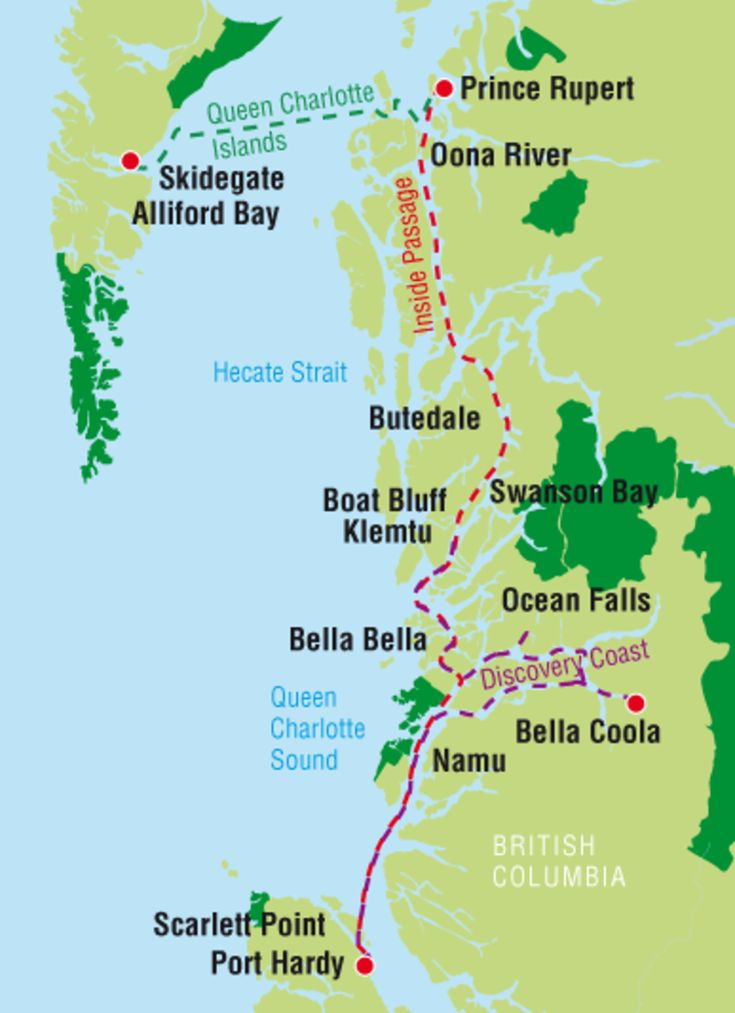 The inside passage route takes you from Port Hardy on Vancouver Island to Prince Rupert.