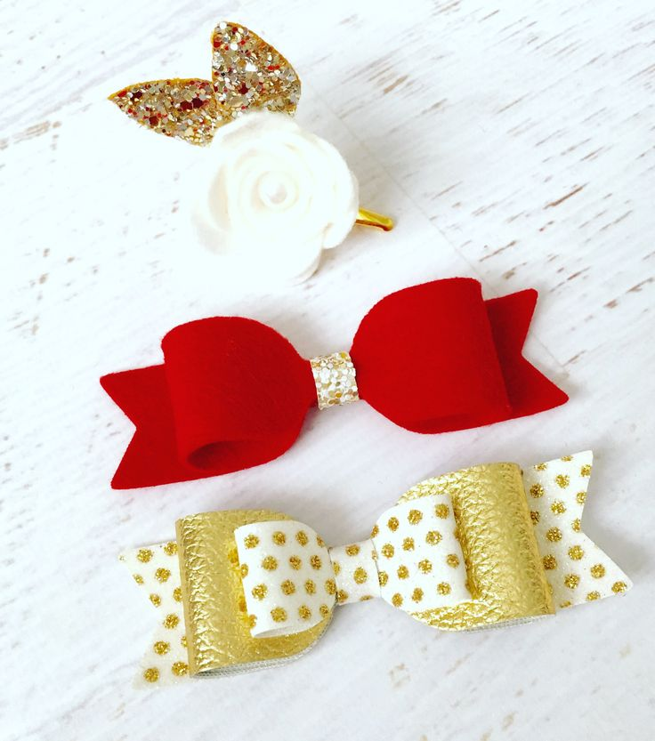 Girls set of Christmas hair bows and rose hair clip made from 100% wool felt and gold glitter fabric and gold leatherette