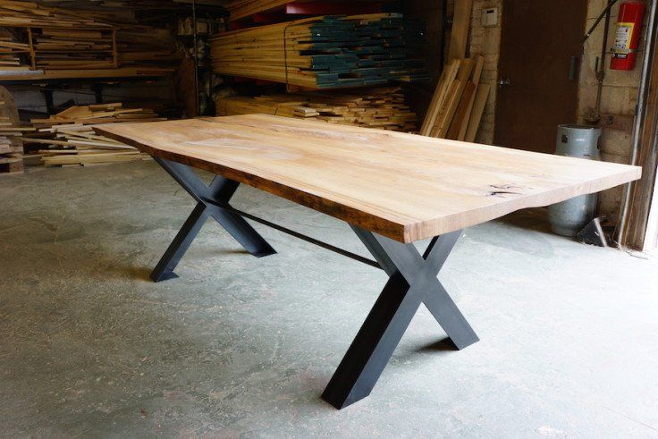 Furniture | Live Edge Dining Table | made from urban felled Elm tree with cold rolled steel angle legs & matching footrest