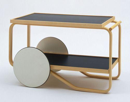 "Alvar Aalto (Finnish, 1898-1976), Tea Trolley Model No. 98, 1936-37, linoleum top, natural birch frame, lacquered wheels with rubber tread, 22 1/4 x 19 3/4 x 35 1/2"" (56.5 x 50.2 x 90.2 cm). Manufactured by Oy Huonekalu-ja Rakennustyötehdas Ab, Turku, Finland."