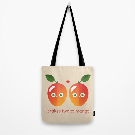 It Takes Two to Mango Tote Bag - pun, puns, mango, mangos, tango, dance, fruit, food, funny, cute, love, relationship, tasteful, tasty, relationships, valentine, valentines, vector, art, illustration, drawing, design
