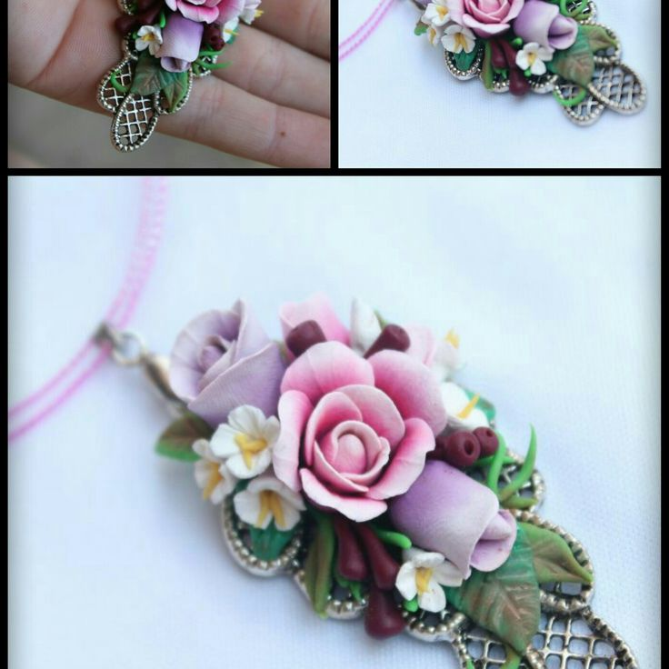 Multi rose bouqet pendant in pinks, purples, greens and white