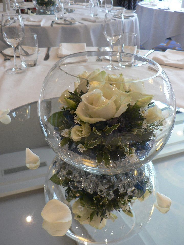 Laurel Weddings Flowers. Goldfish bowl table centre. www.laurelwedding...