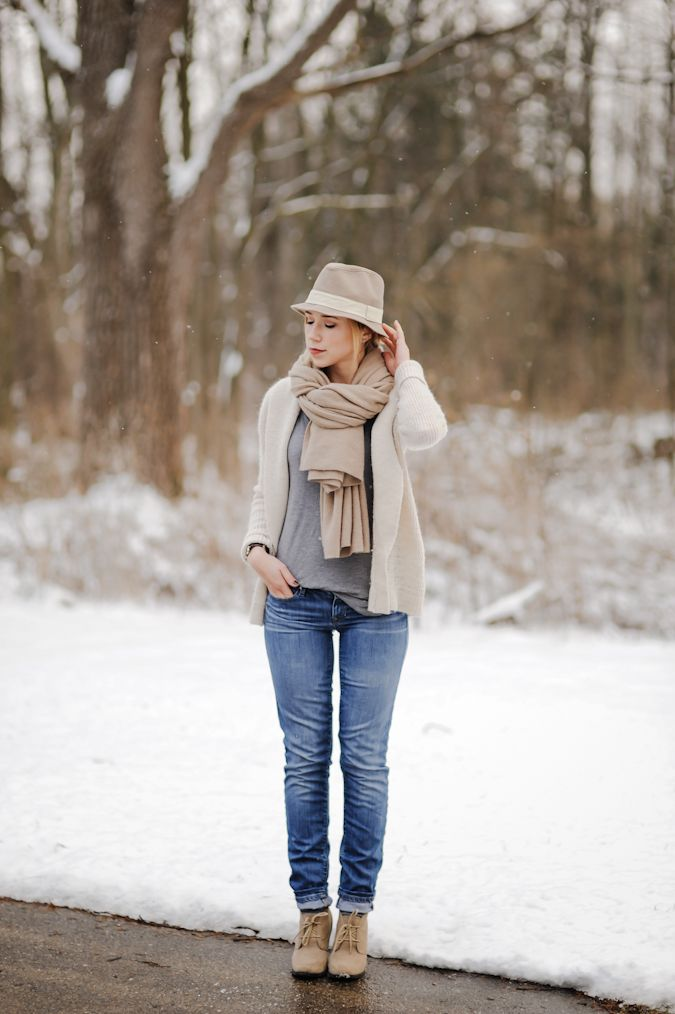 Scarf and booties and oversize sweater