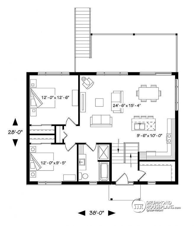 1st level Split entry, Modern style cottage with up to 4 bedrooms, walk-out basement, covered terrace, open floor plan - Calypso