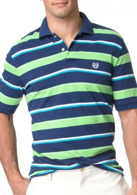 Chaps Deep Ocean Striped Pique Polo Shirt