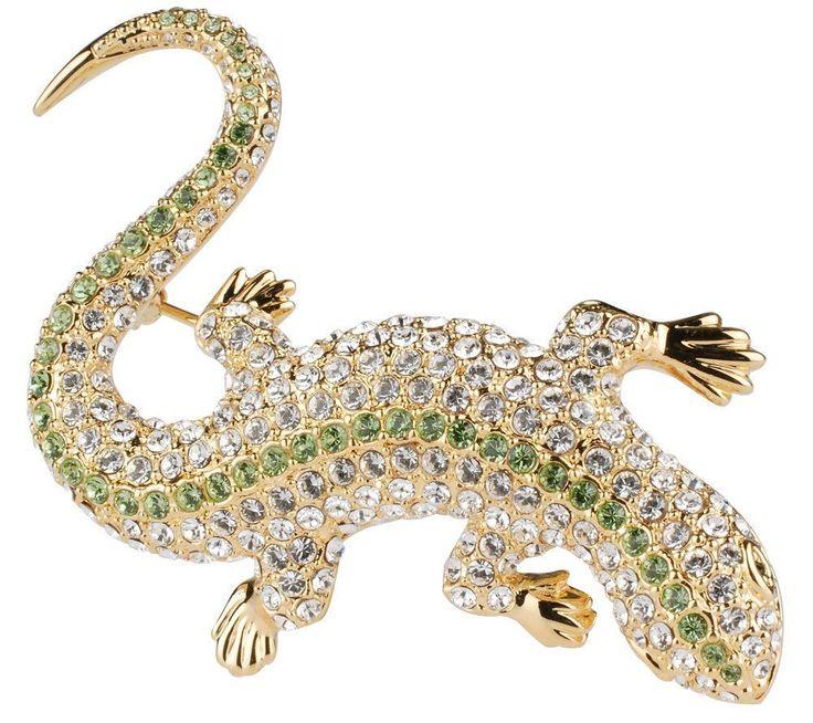 QVC Jacqueline Kennedy Reproduction Goldtone Crystal Lizard Brooch $199.99 #JacquelineKennedy #Lizard
