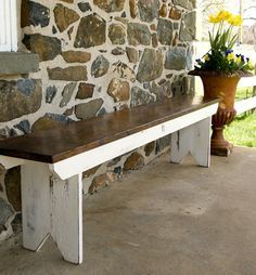 Reclaimed barnwood bench. Tung oil and milk paint finish. Piece made from Furniture From The barn