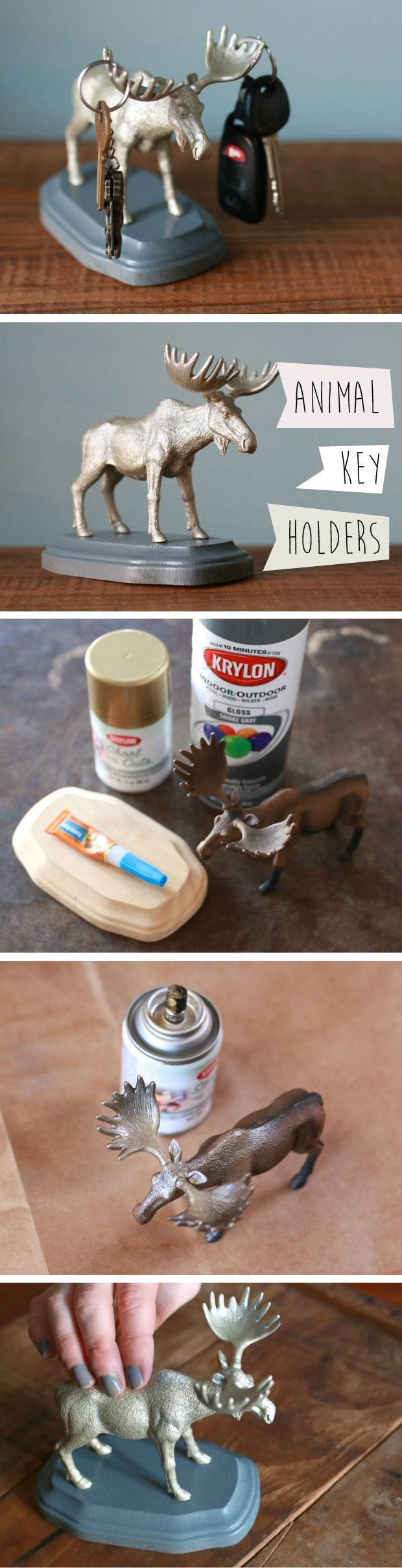 """Seriously, such a  great idea! Use a plastic animal toy, wooden plaque and a touch of your favorite spray paint to make this freestanding """"handy helper"""" to hold keys, sunglasses and other entryway odds and ends. Your new animal friend will add personality while acting as an organizational lifesaver.  Read more : www.ehow.com/..."""