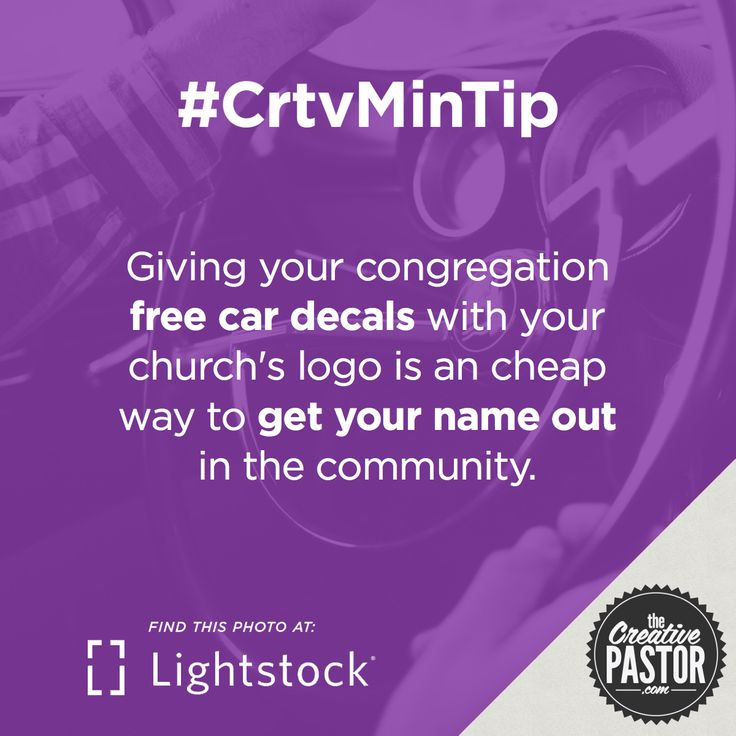Giving your congregation free car decals with your church's logo is an inexpensive way to get your name out in the community.