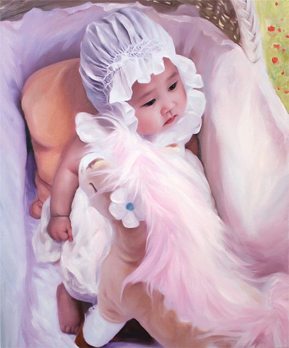 Custom Baby Portrait from Photo Gift for Husband #christmas #gifts Fine Art Painting by AnastassiaArt on #etsy unique gift
