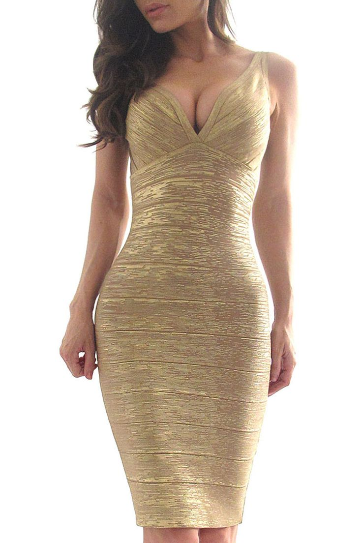 "A simply stunning matte gold bandage bodycon dress featuring a sweetheart neckline and a hidden zipper with a hook-eye closure. Thin straps. Stretch fit. Knit. Medium weight. *35"" approx. length from"