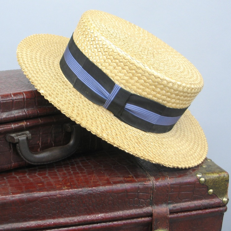 vintage Straw Boater Hat. $125.00, via Etsy.