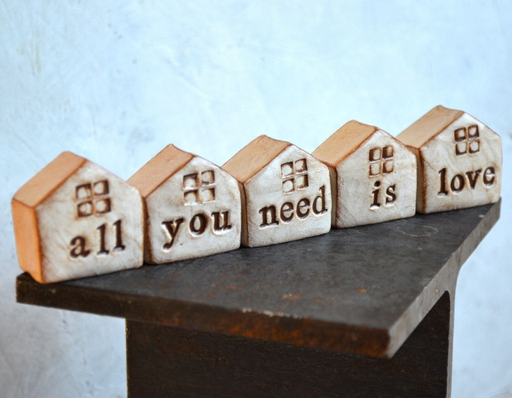 Birthday gift  .. all you need is love ...5 handmade polymer clay houses ... Word Houses ... Beatles lyrics. $48.00, via Etsy.