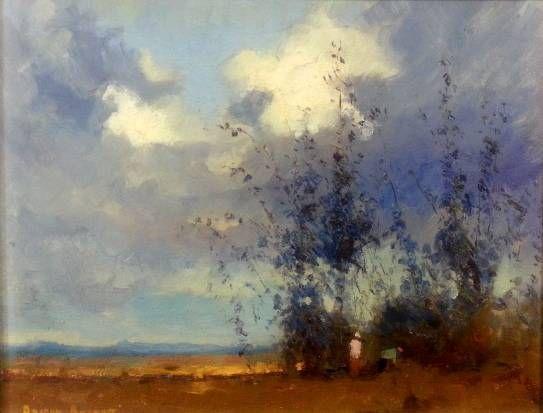 S2948 Adriaan Boshoff Landscape Oil on Board 36cmx45cm
