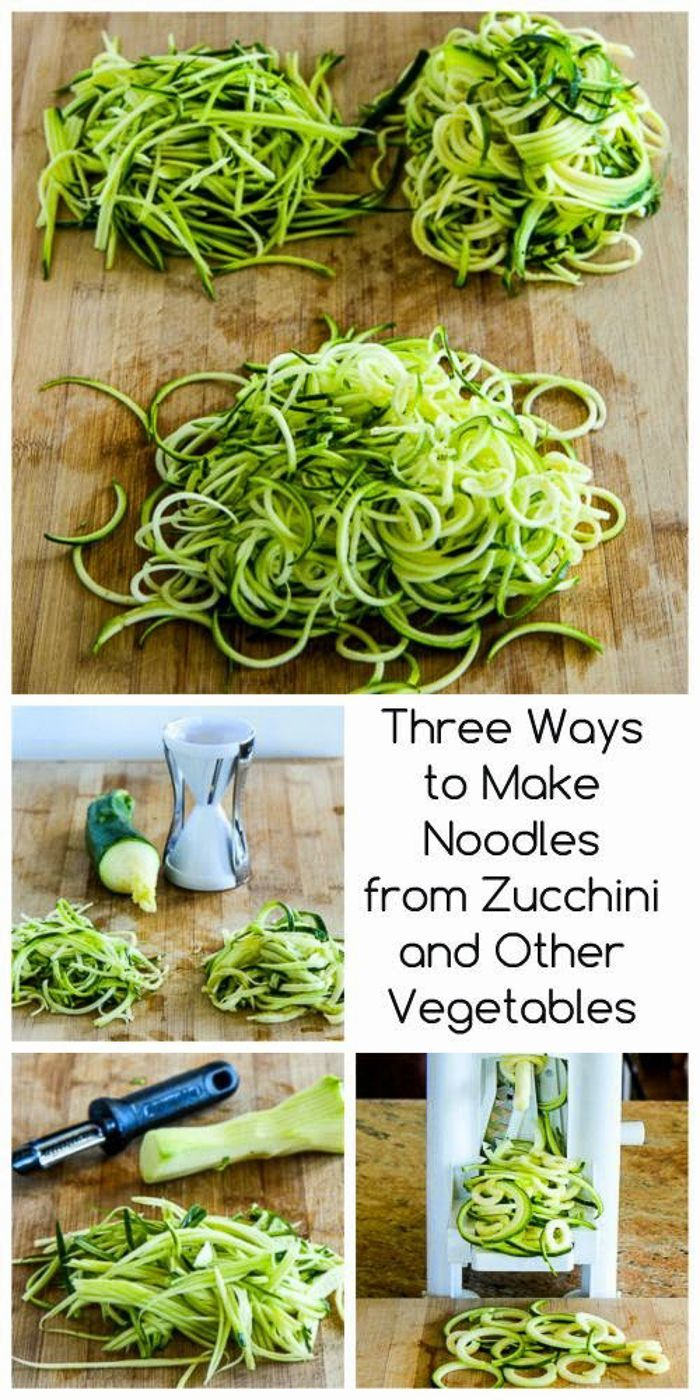 If you haven't tried Zucchini Noodles (also called #Zoodles) this post gives three inexpensive gadgets to use for making them! [from KalynsKitchen.com] #LowCarb #GlutenFree