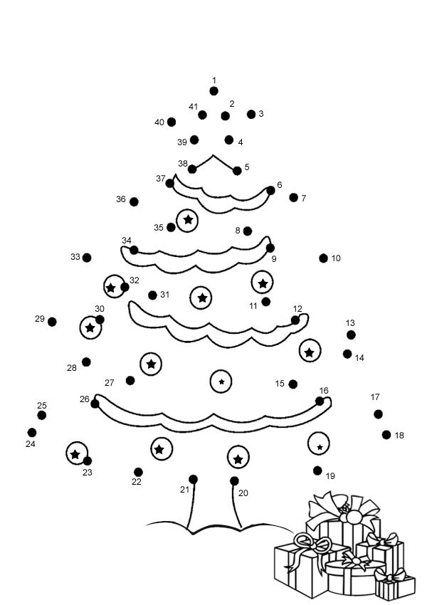 Free Online Printable Kids Games - Christmas Tree Dot To Dot