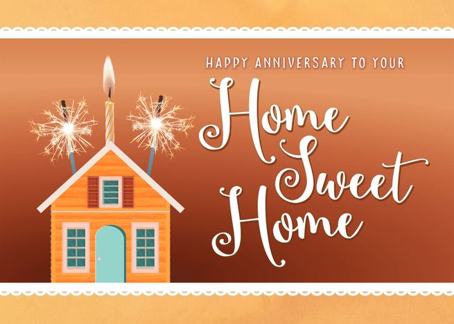 Happy House Anniversary From Realtor With Candle And Sparklers Card Ad Sponsored Anniversary House Happy Re Happy House Sparklers Happy Anniversary