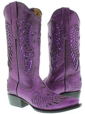 Women's Lilac Purple All Real Leather Cowboy Cowgirl Boots Dress Spangle Western