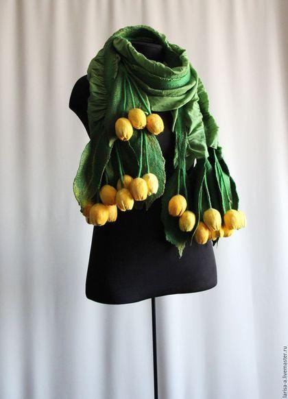 """Шали, палантины ручной работы. Валяный палантин """"Тюльпаны желтые"""".. Felt&Lar. Ярмарка Мастеров. Аксессуары, купить подарок"""