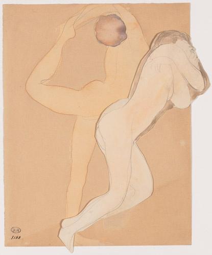 AUGUSTE RODIN (1840-1917) COUPLE FÉMININ Graphite pencil, watercolour H. 33,50 cm ; W. 27,70 cm D.5188
