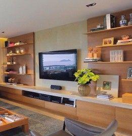 estante tv painel madeira laca bege decoracao assim eu gosto
