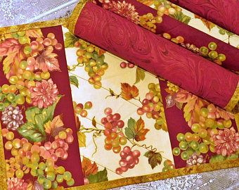 Set of six quilted patchwork placemats modern multicoloured